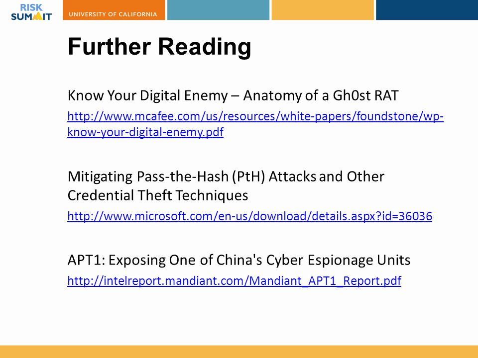 Further Reading Know Your Digital Enemy – Anatomy of a Gh0st RAT