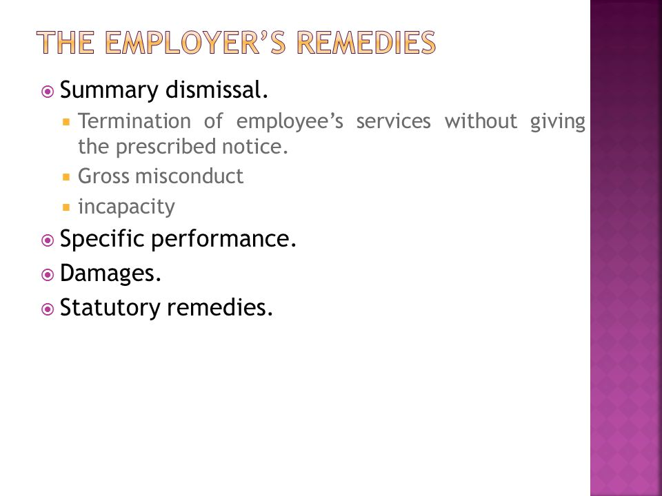 The employer's remedies