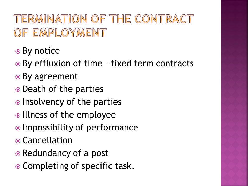 Termination of the contract of employment
