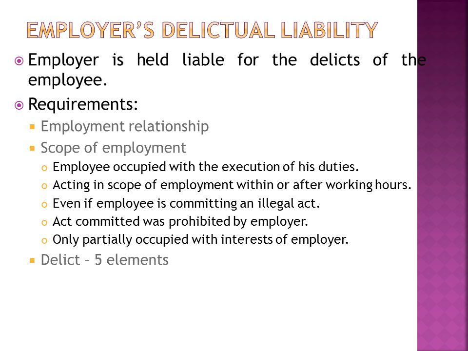 applying five elements of delictual liability The law of delict and the application of these from normative and factual  perspectives during the first semester you will examine four of the five elements   delictual liability (conduct, wrongfulness, fault and causation.