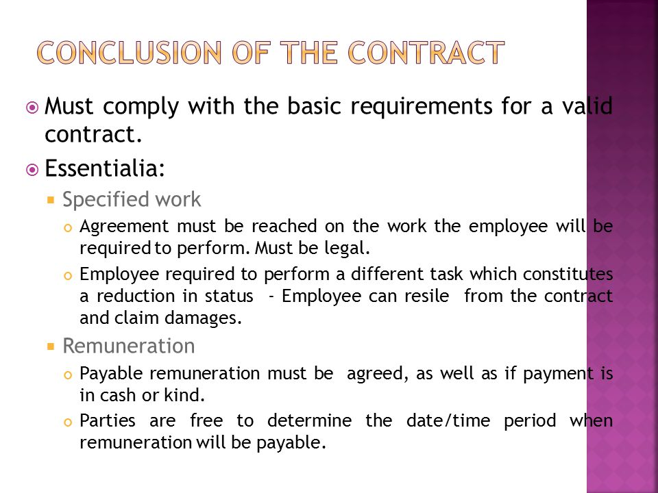 Conclusion of the contract