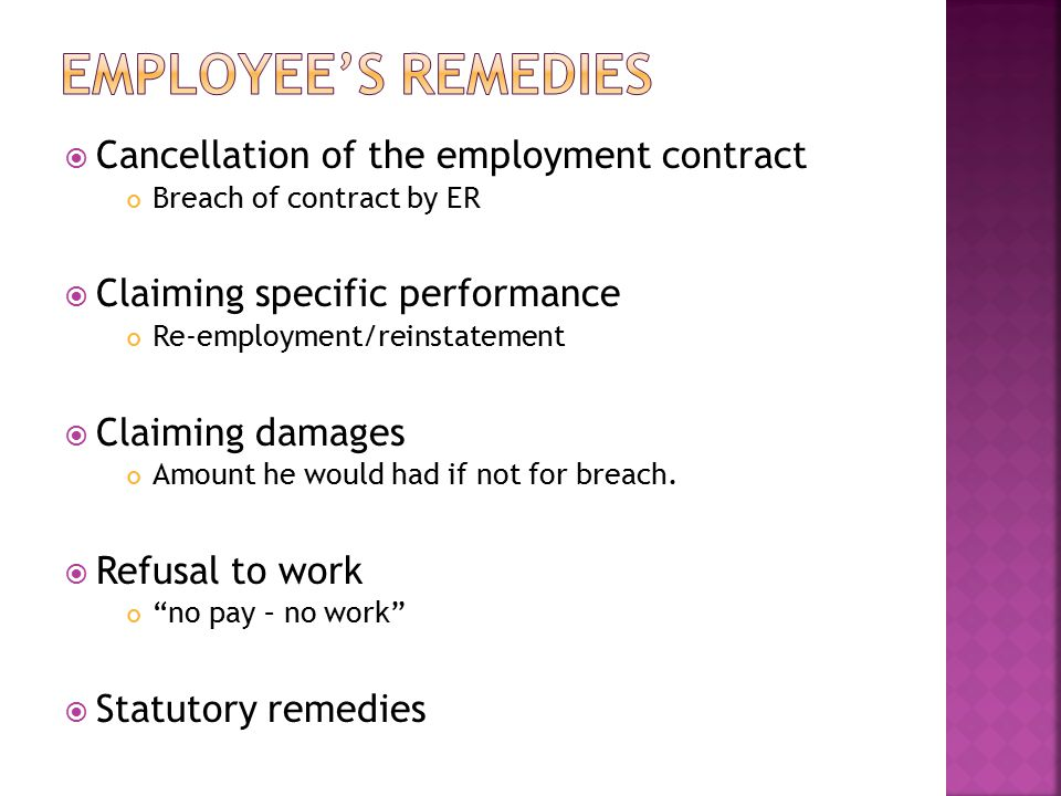 Employee's remedies Cancellation of the employment contract