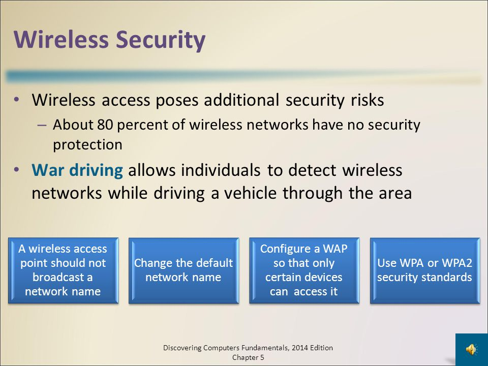 Wireless Security Wireless access poses additional security risks