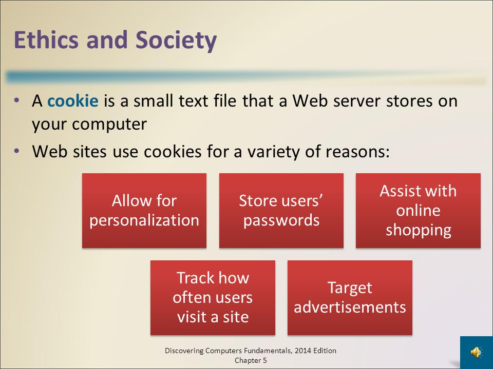Ethics and Society A cookie is a small text file that a Web server stores on your computer. Web sites use cookies for a variety of reasons: