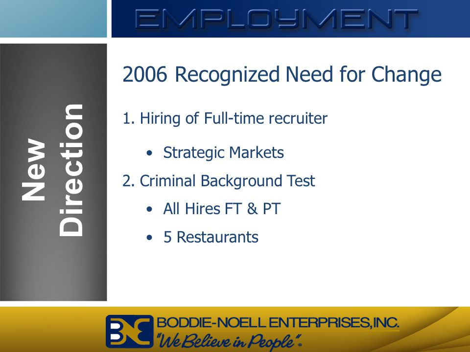 New Direction 2006 Recognized Need for Change
