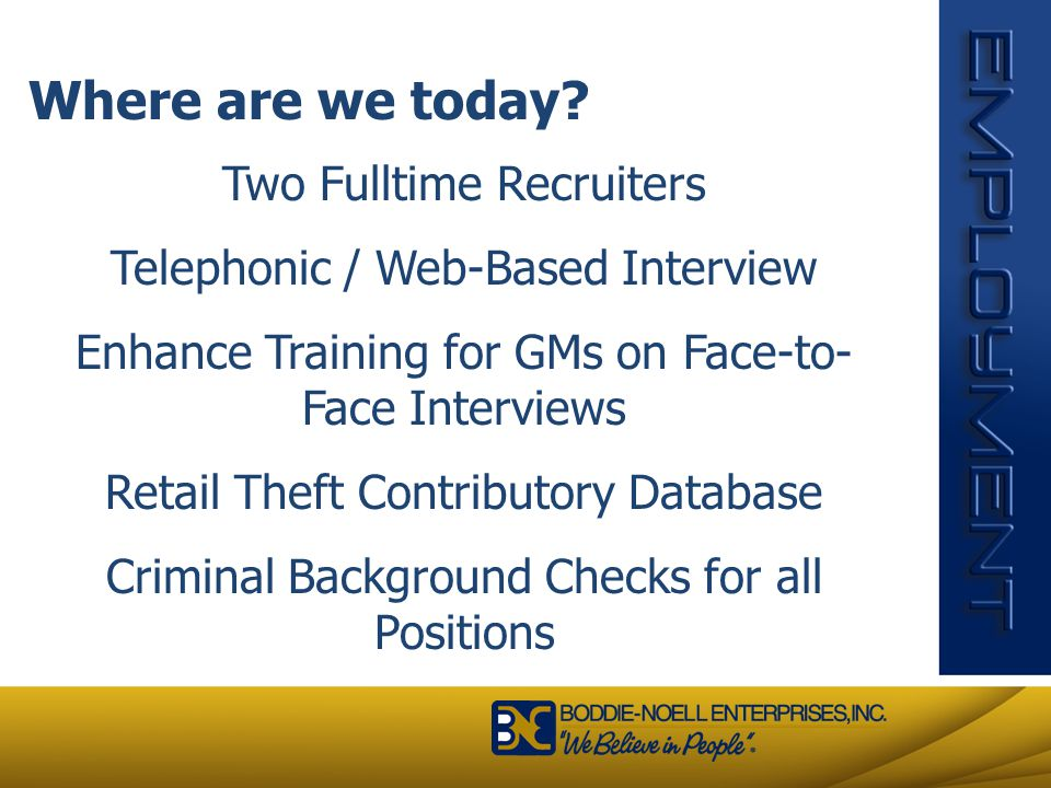 Where are we today Two Fulltime Recruiters