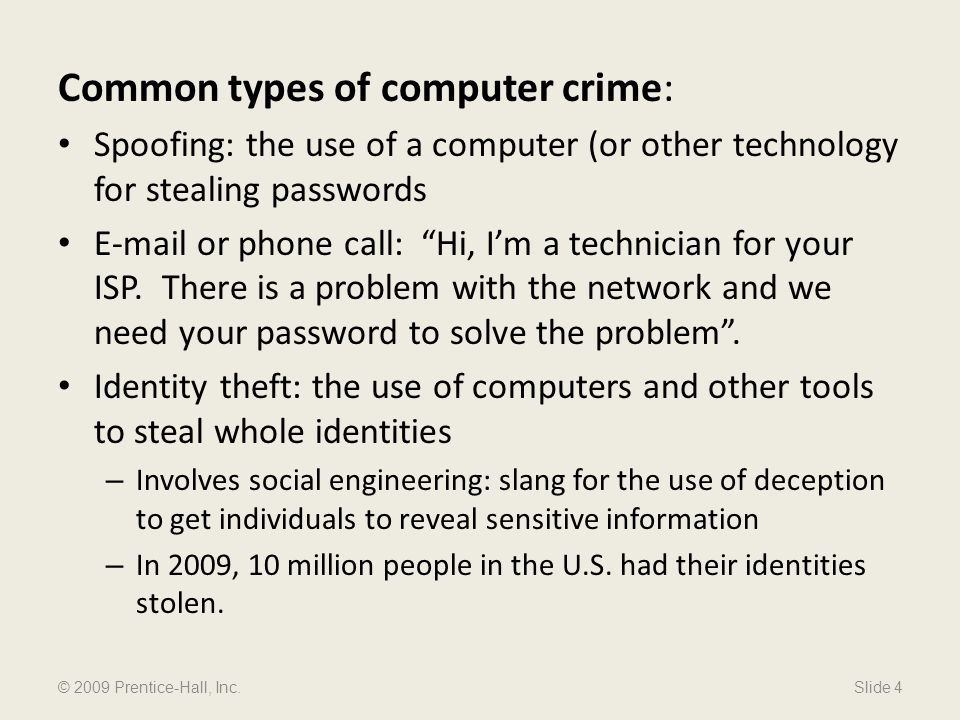 Common types of computer crime:
