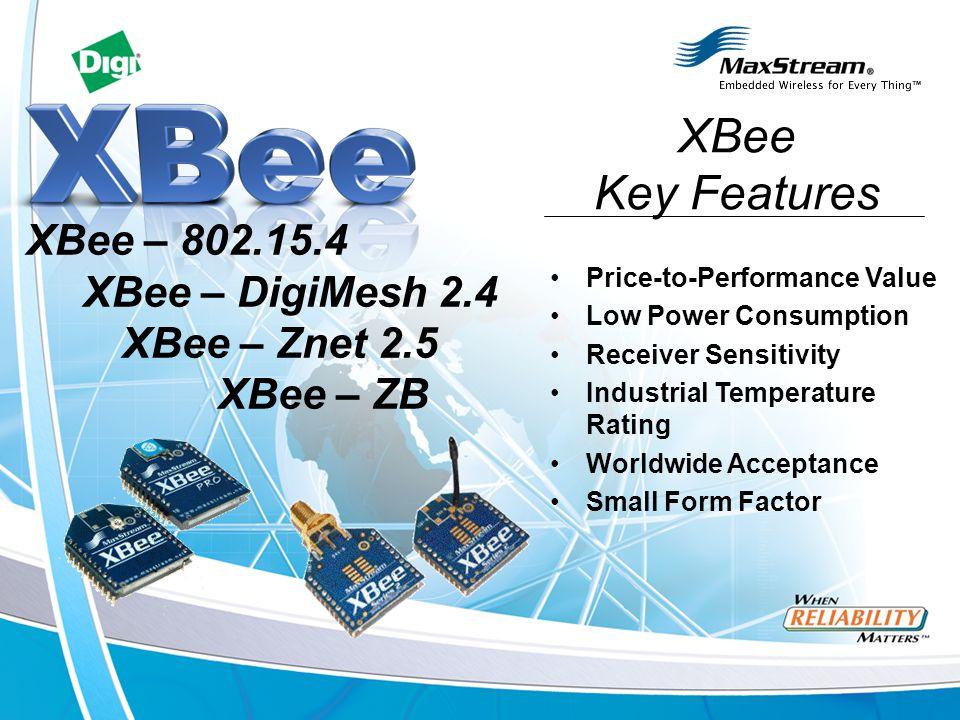 XBee Key Features XBee – 802.15.4 XBee – DigiMesh 2.4 XBee – Znet 2.5