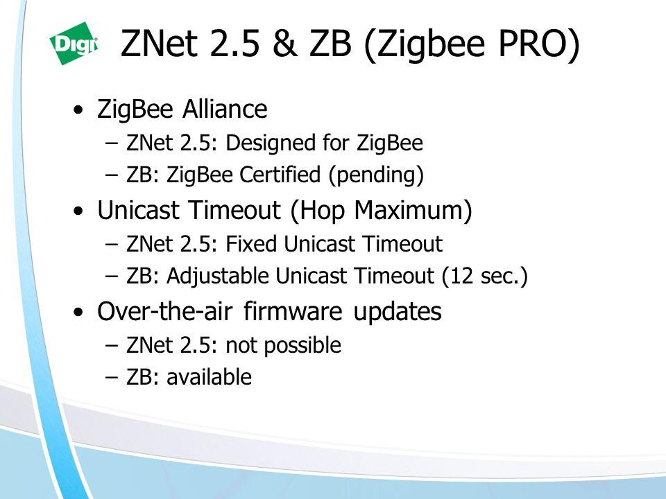 ZNet 2.5 & ZB (Zigbee PRO) ZigBee Alliance