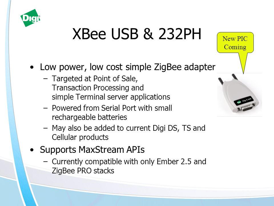 XBee USB & 232PH Low power, low cost simple ZigBee adapter