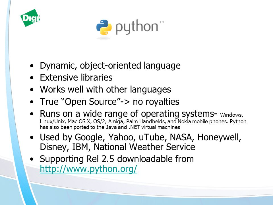 Dynamic, object-oriented language