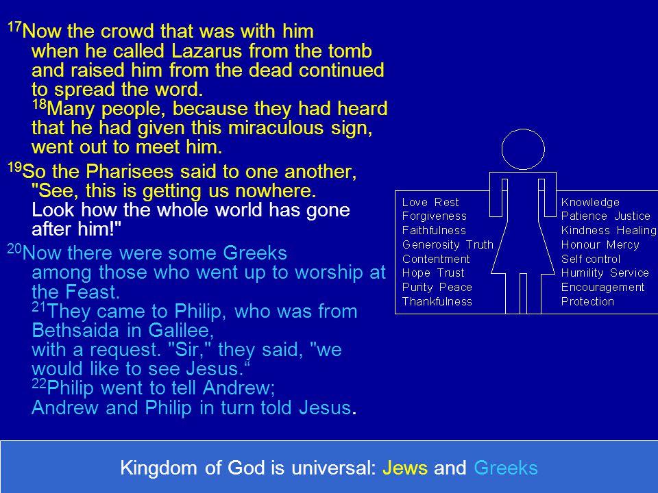 Kingdom of God is universal: Jews and Greeks