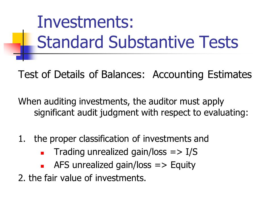Investments: Standard Substantive Tests