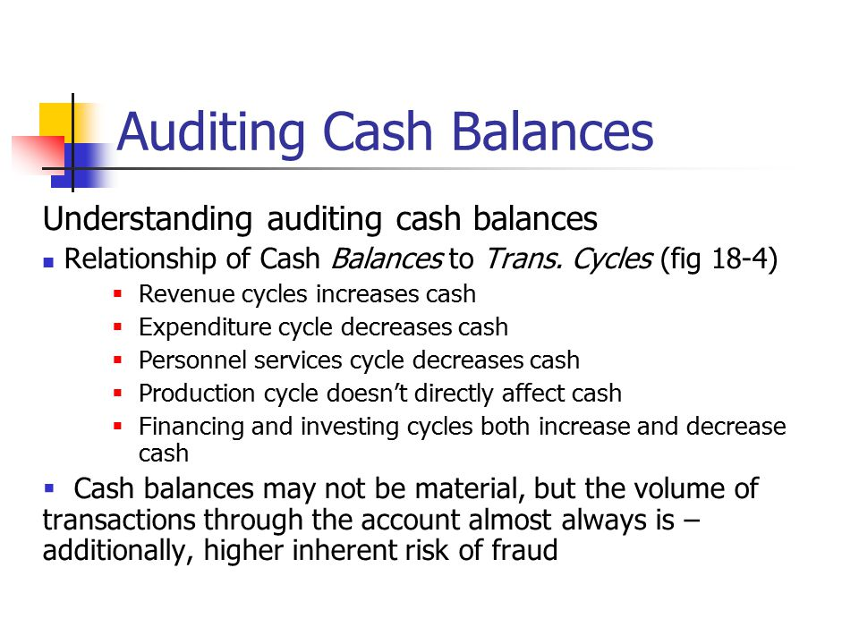 Auditing Cash Balances