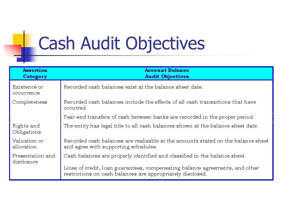 Cash Audit Objectives