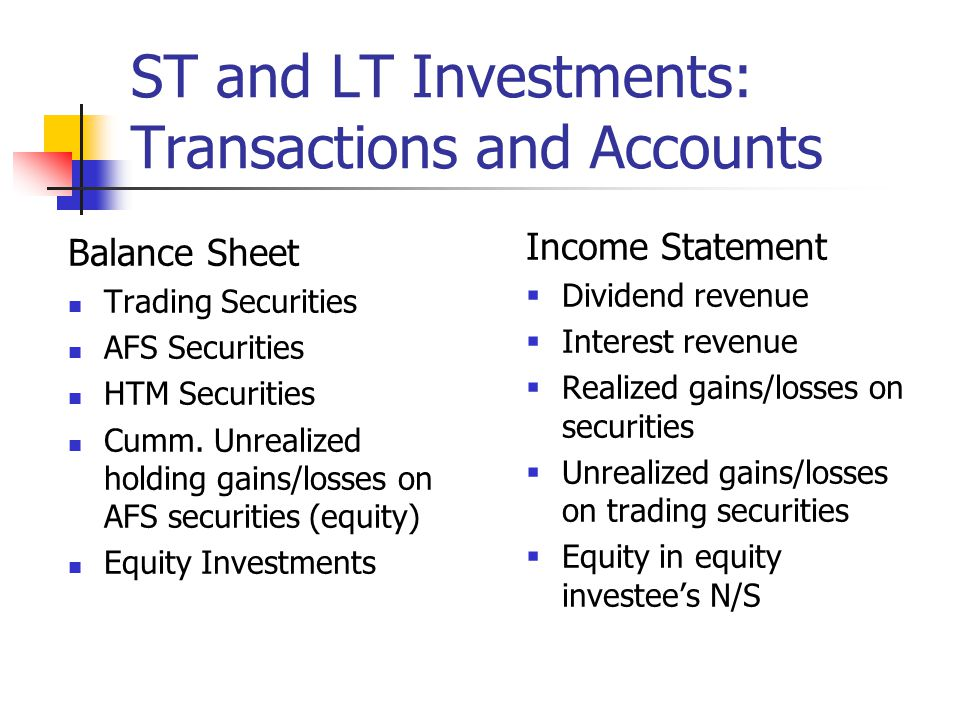 ST and LT Investments: Transactions and Accounts