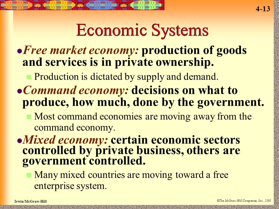 Economic Systems Free market economy: production of goods and services is in private ownership. Production is dictated by supply and demand.