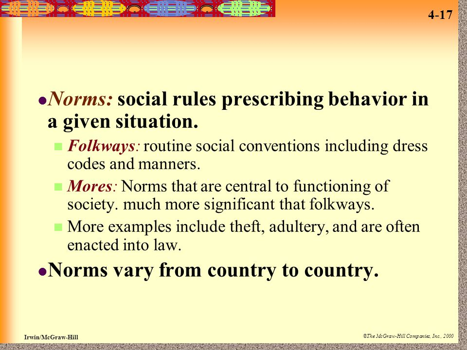 Norms: social rules prescribing behavior in a given situation.
