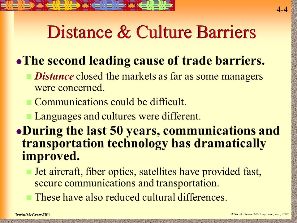 Distance & Culture Barriers