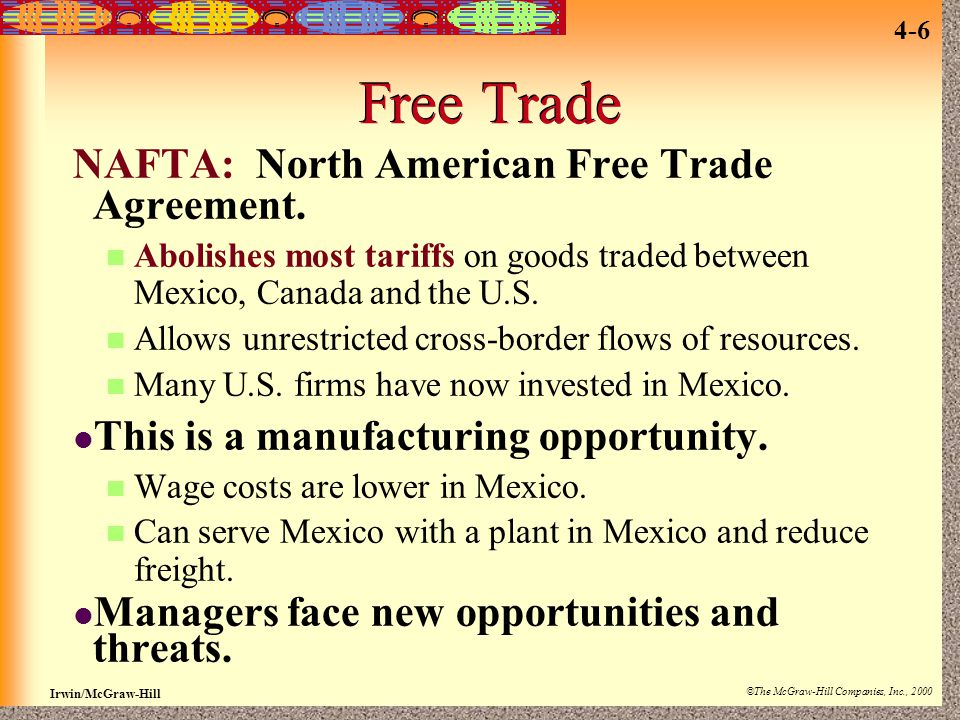 Free Trade NAFTA: North American Free Trade Agreement.