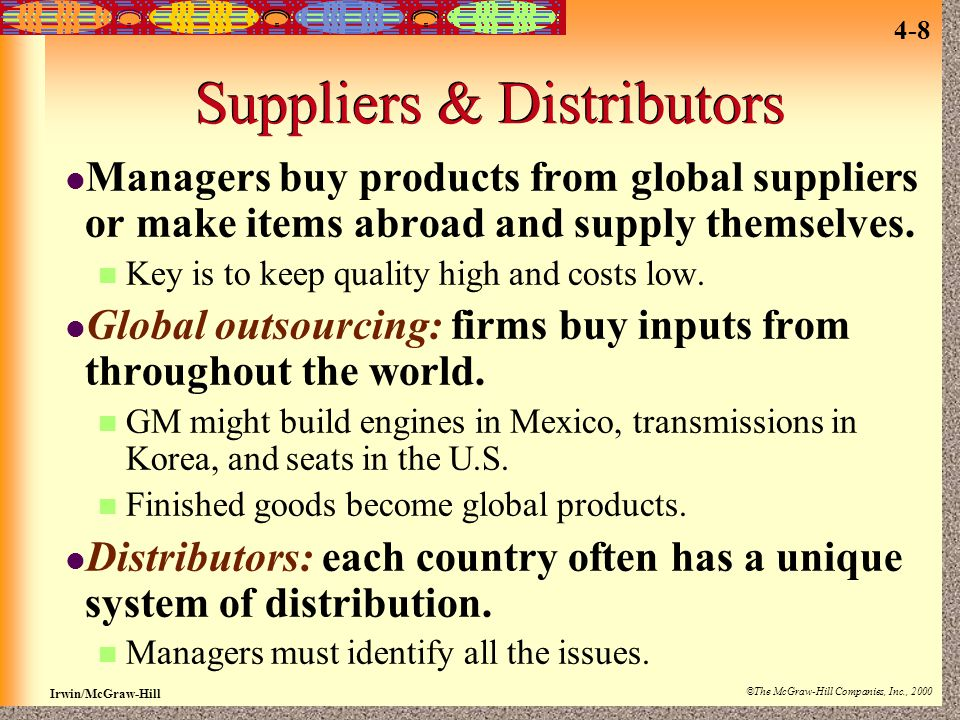 Suppliers & Distributors