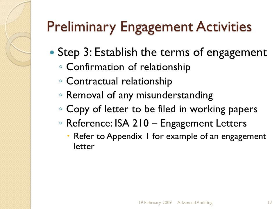 Preliminary Engagement Activities