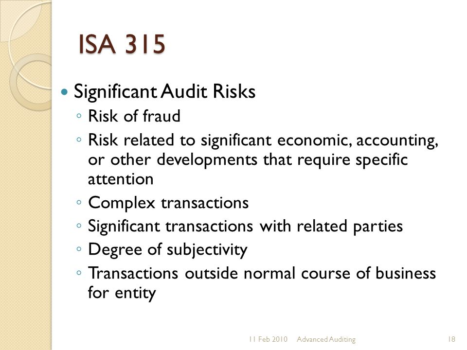 ISA 315 Significant Audit Risks Risk of fraud