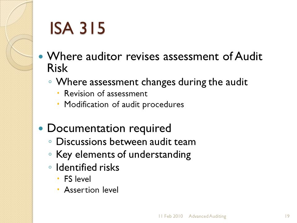 ISA 315 Where auditor revises assessment of Audit Risk