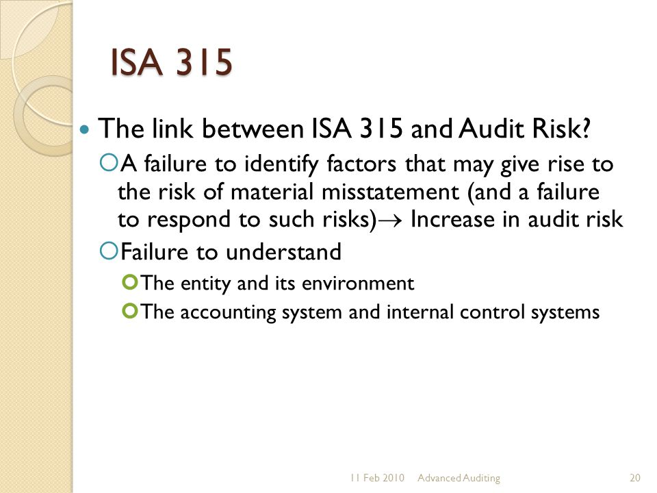 ISA 315 The link between ISA 315 and Audit Risk