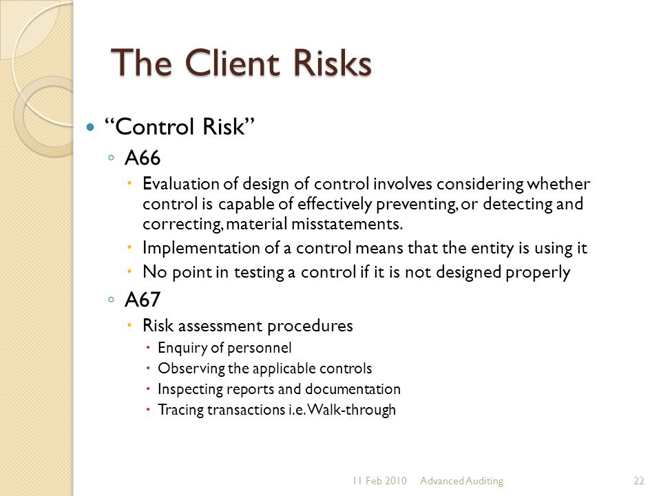 The Client Risks Control Risk A66 A67