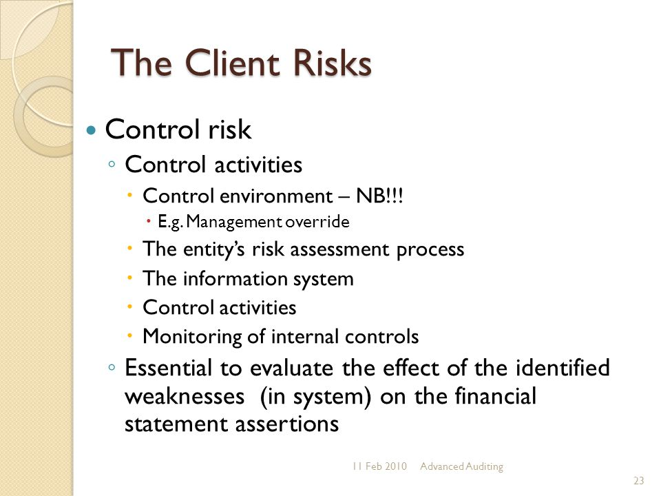 The Client Risks Control risk Control activities
