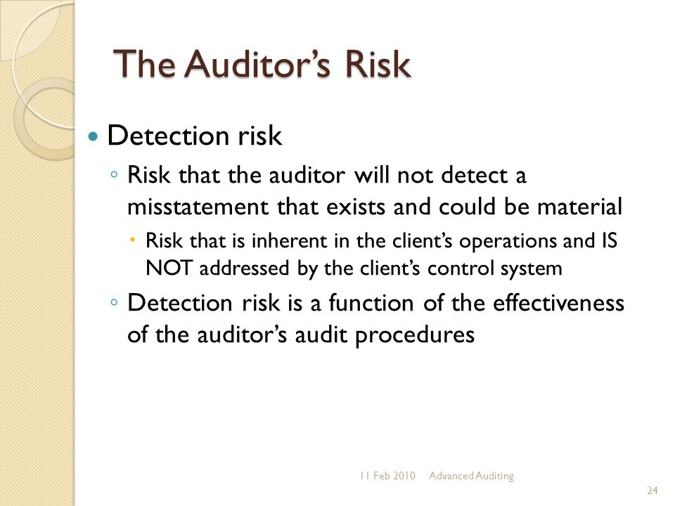 The Auditor's Risk Detection risk