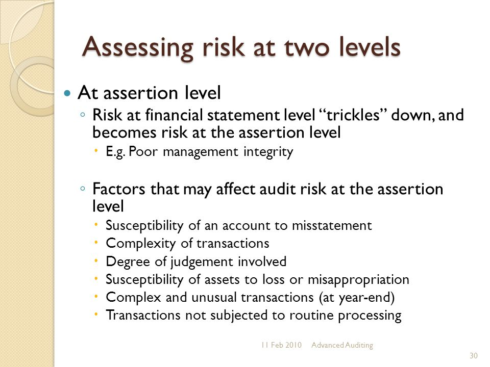 Assessing risk at two levels