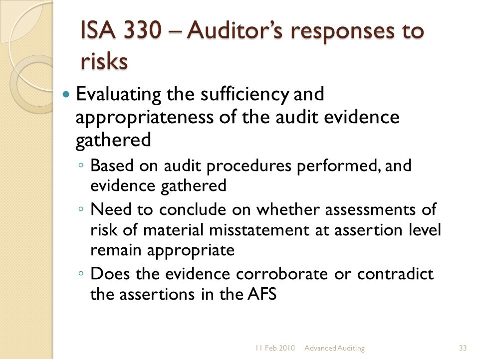ISA 330 – Auditor's responses to risks