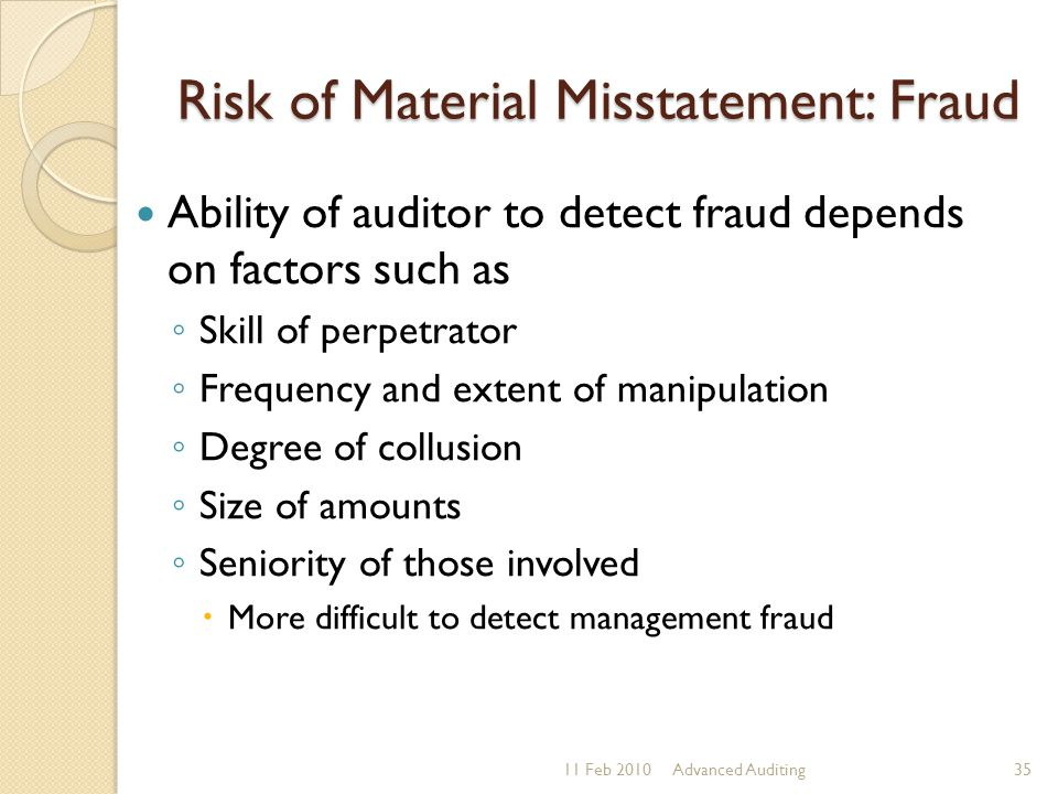Risk of Material Misstatement: Fraud