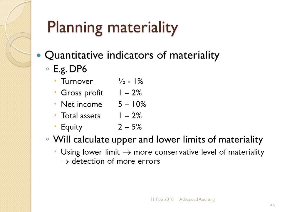 Planning materiality Quantitative indicators of materiality E.g. DP6