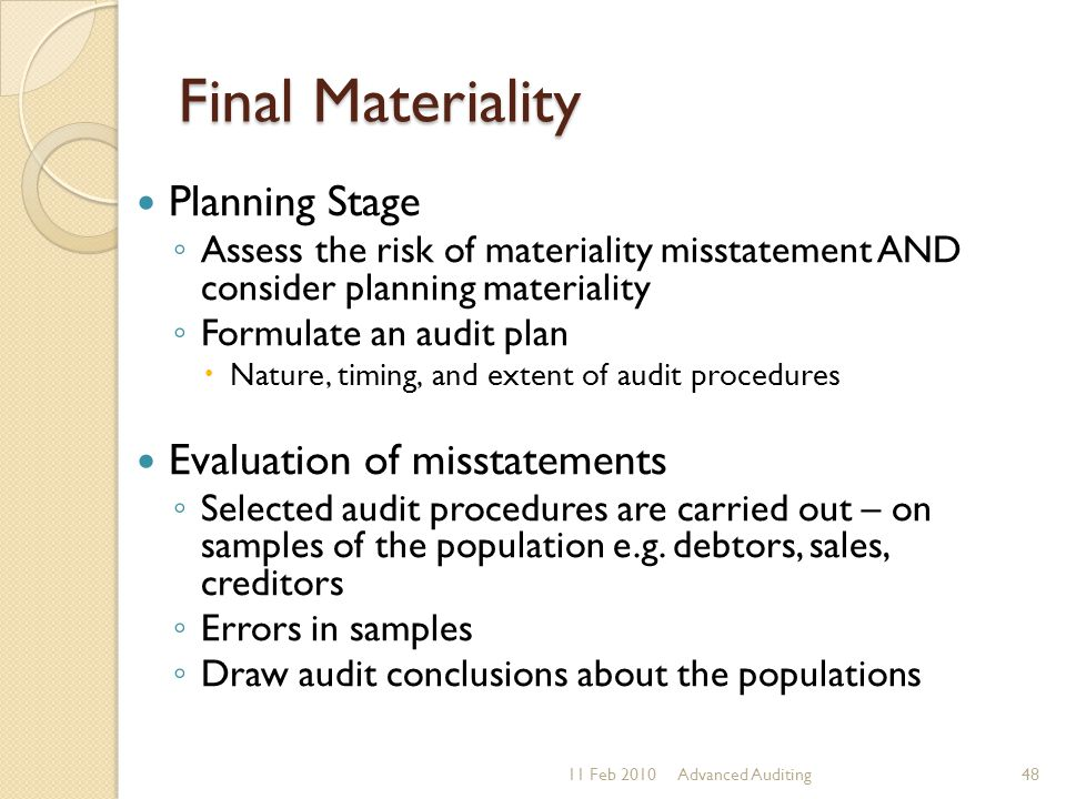 Final Materiality Planning Stage Evaluation of misstatements