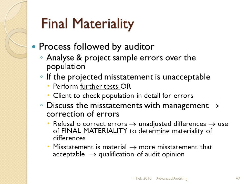 Final Materiality Process followed by auditor