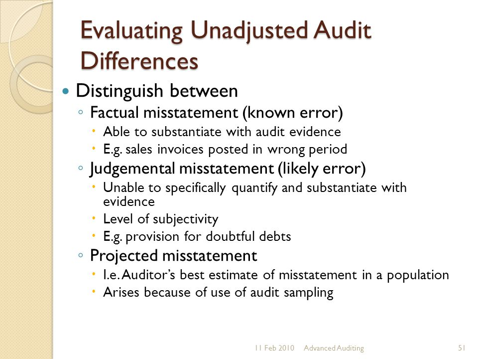 Evaluating Unadjusted Audit Differences