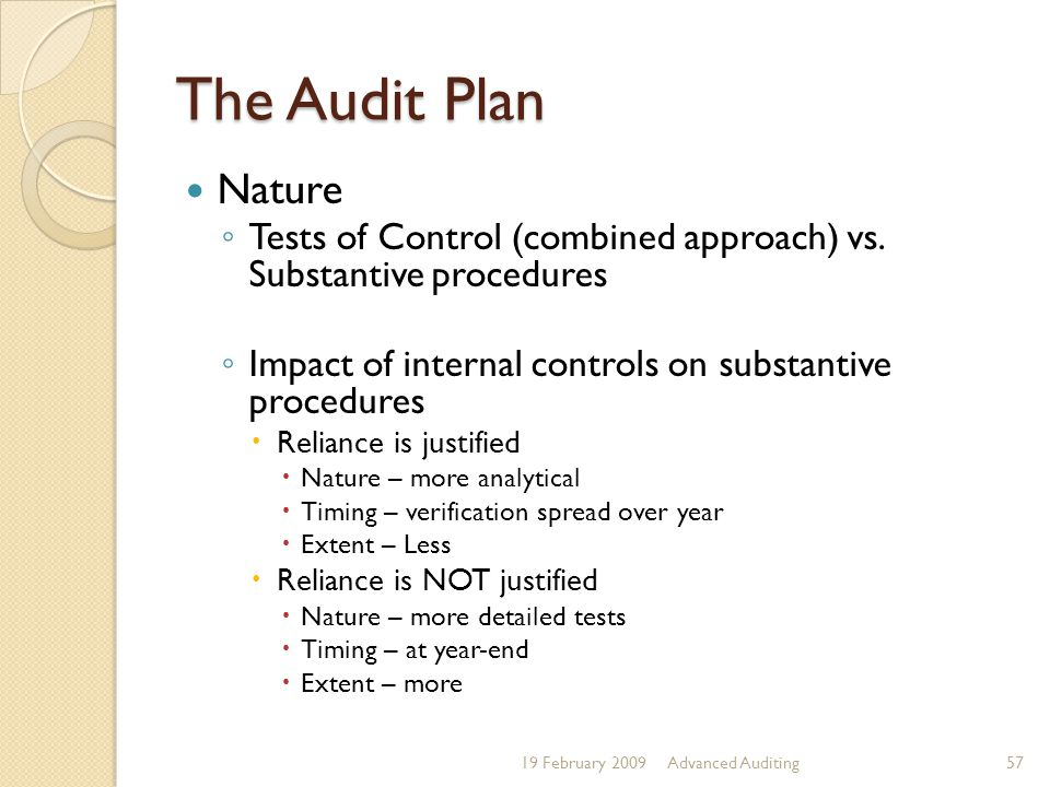 The Audit Plan Nature. Tests of Control (combined approach) vs. Substantive procedures. Impact of internal controls on substantive procedures.