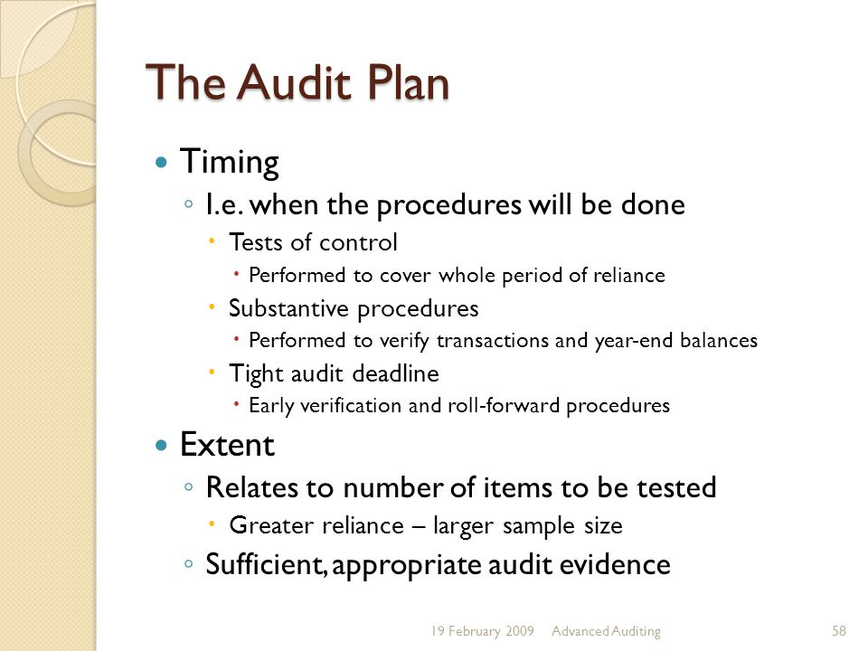 The Audit Plan Timing Extent I.e. when the procedures will be done