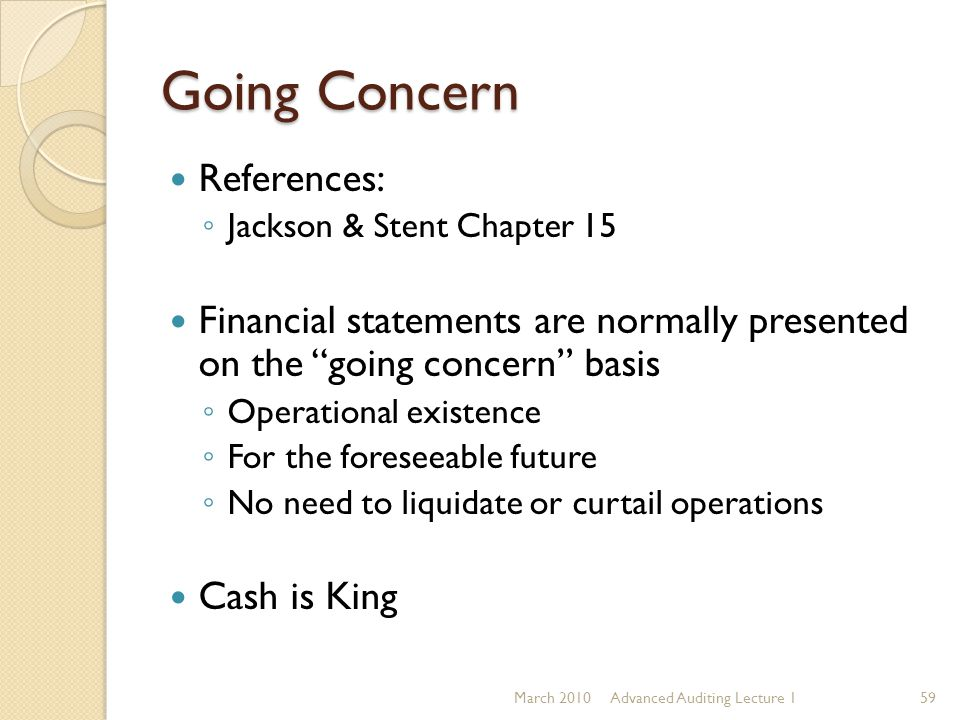 Going Concern References: