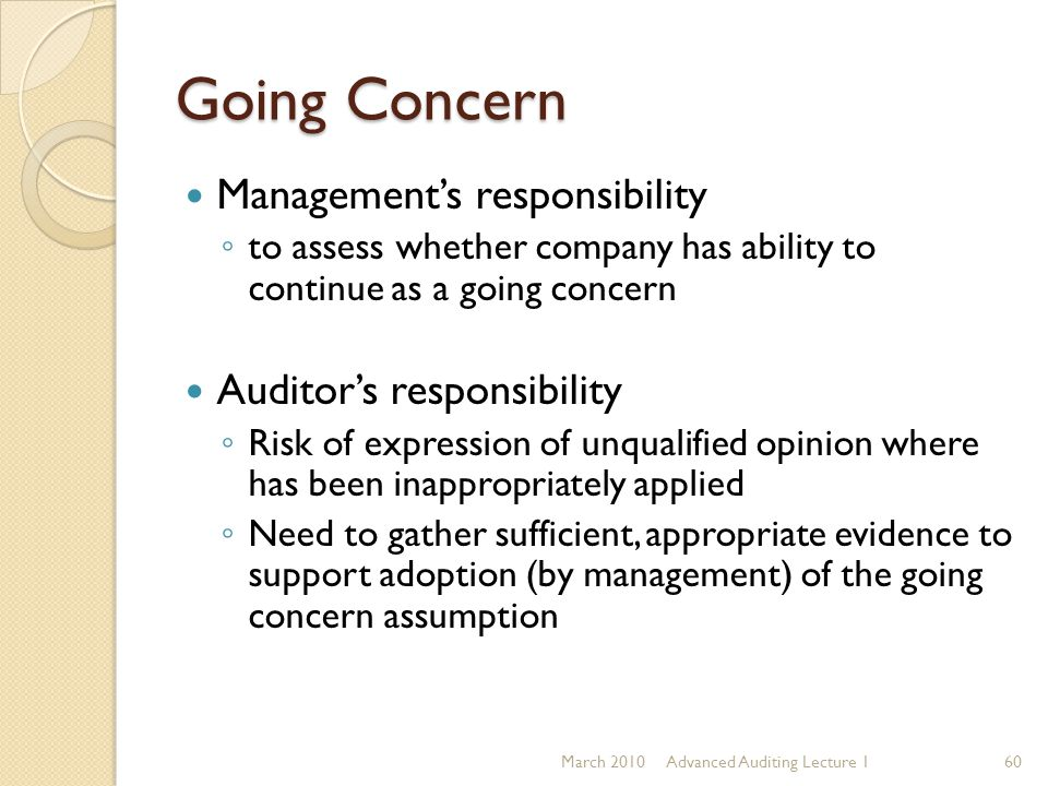 Going Concern Management's responsibility Auditor's responsibility