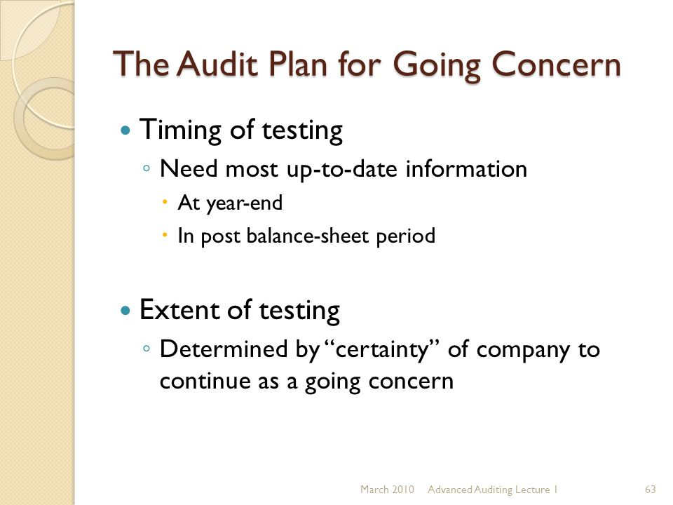 The Audit Plan for Going Concern