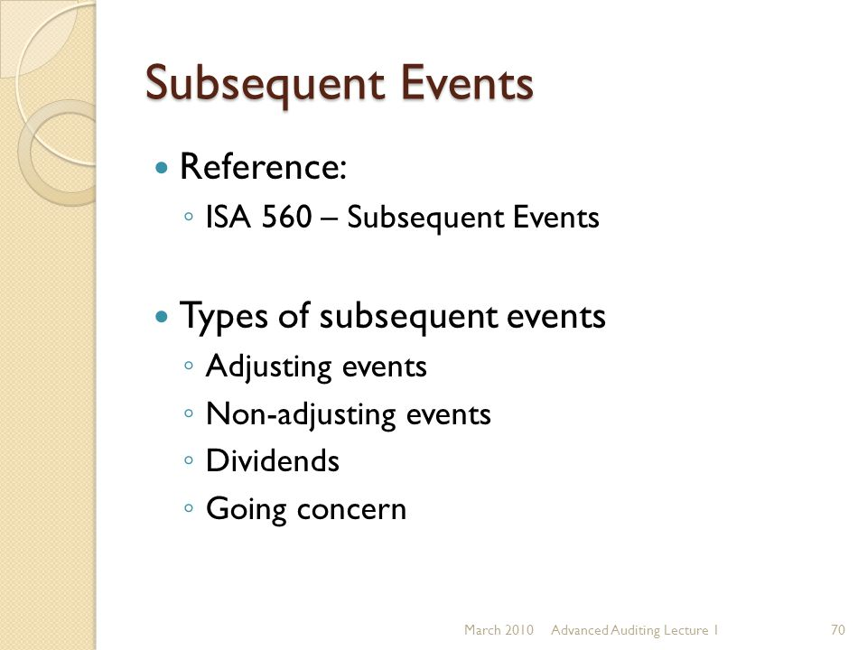 Subsequent Events Reference: Types of subsequent events
