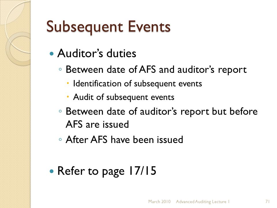 Subsequent Events Auditor's duties Refer to page 17/15