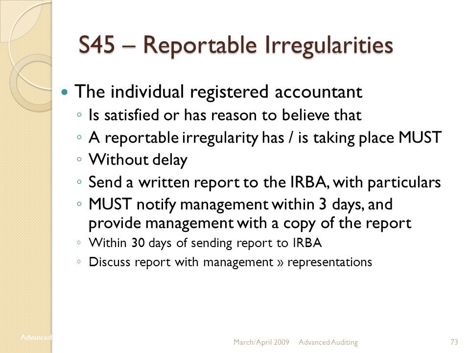 S45 – Reportable Irregularities