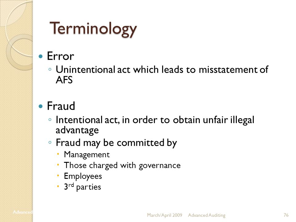 Terminology Error Fraud