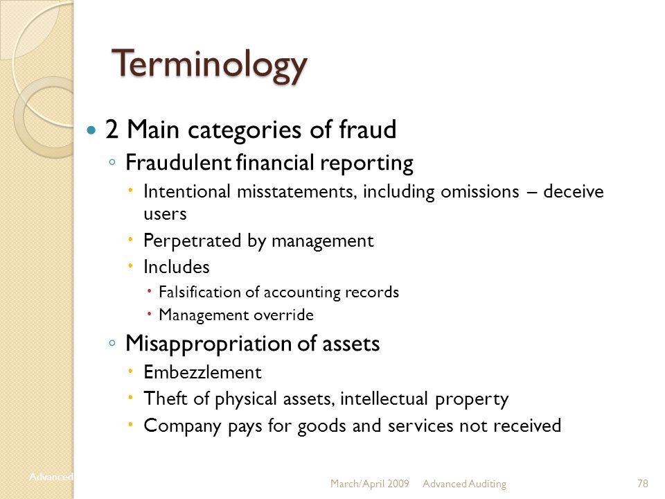 Terminology 2 Main categories of fraud Fraudulent financial reporting