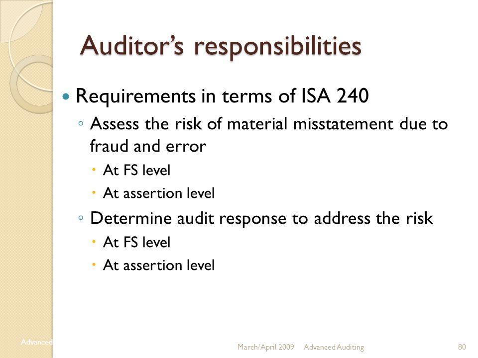 Auditor's responsibilities